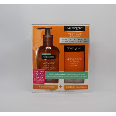 neutrogena pack visibly limpiador 200 ml hidratante oil free 50 ml