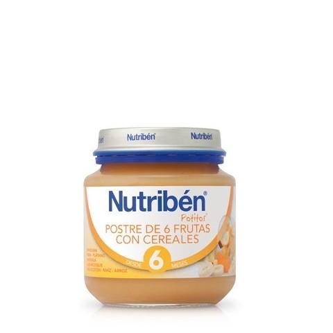 Nutriben postre de 6 frutas con cereales  potito de inicio 130 g